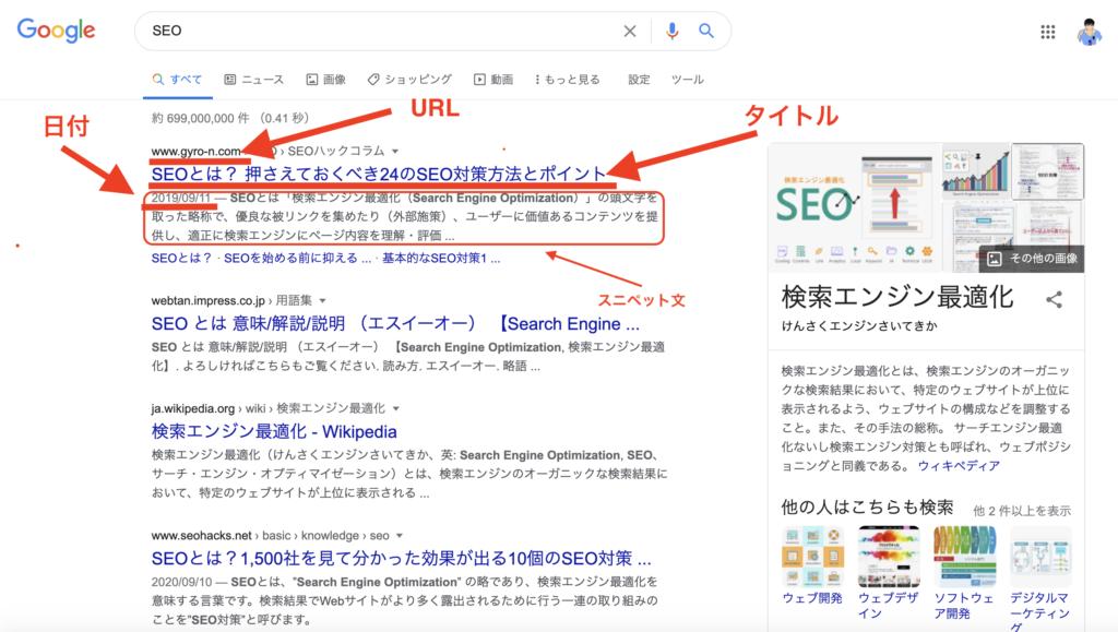 検索結果の見た目